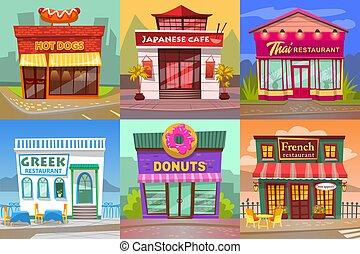 restaurant, café, ensemble, rue, vue