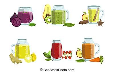 restaurant, café, ingrédients, ensemble, menu, légumes, illustration, élément, cocktails, fruit, vecteur, conception, barre, smoothies, detox