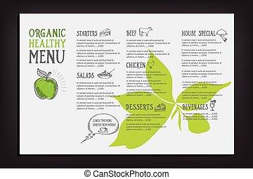 restaurant, café, menu, gabarit, design.