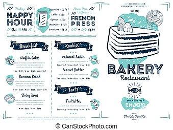 Restaurant cafe bakery menu template
