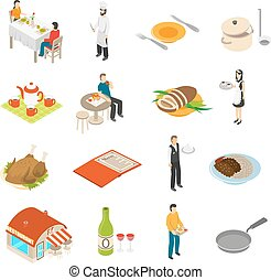 Restaurant Cafe Bar Isometric Icons Set