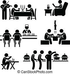 Restaurant Cafe Food Drink - A set of stick figure people...