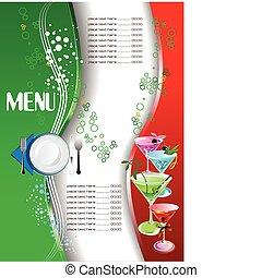 restaurant, (cafe), menu., gekleurde, ve