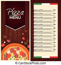 Restaurant cafe menu. Italian Pizza Menu. Pizza flat design. Cafe flyer
