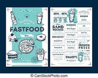 Restaurant cafe menu template design, vector