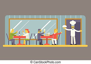 Restaurant Cafe with Chef and Visitors Characters Symbol Food House Interior Icon on Stylish Background Modern Flat Design Vector Illustration