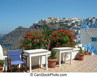 romantic restaurant with volcanic cliff caldera view greek islands greece santorini thira ia oia town