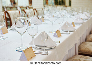 restaurant catering table with glassware