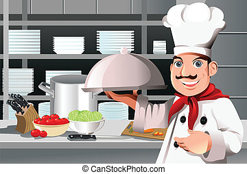 Restaurant chef - A vector illustration of a restaurant chef...