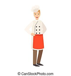 Restaurant Chef Cook, Part Of Happy People And Their Professions Collection Of Vector Characters