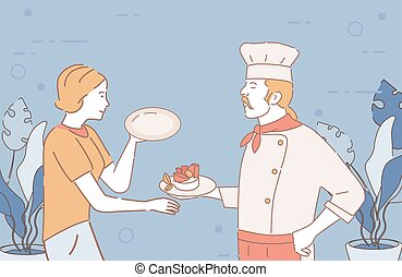 Restaurant chef gives finished dish to waitress vector cartoon illustration. Restaurant staff outline characters.