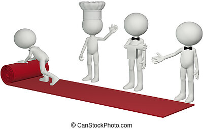 Restaurant chef waiter roll hospitality red carpet - A chef...