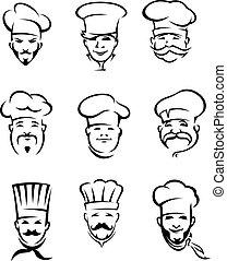 Restaurant chefs - Set of different restaurant chefs in...