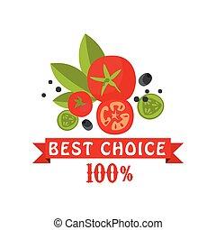 restaurant, choix, marché, cent, coloré, nourriture saine, illustration, conditionnement, produits, vecteur, café, paysan, frais, 100, écusson, mieux