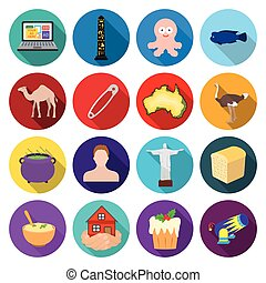 restaurant, circus, business and other web icon in flat style.animal, desert, rest, icons in set collection.