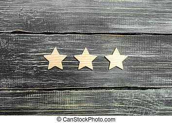 restaurant, classement, concept, reussite, business, evaluation., acheteur, service, application., trois, hôtel, arrière-plan., choice., mobile, étoiles, sombre, qualité