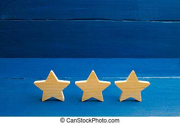 restaurant, classement, concept, reussite, business, evaluation., mobile, service, application., trois, hôtel, arrière-plan., choice., étoiles, bleu, acheteur, qualité