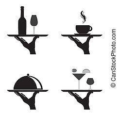 restaurant silhouettes over white background vector...