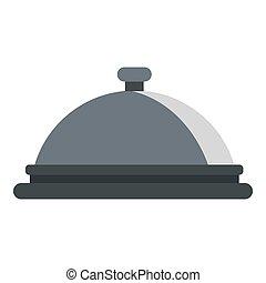 Restaurant cloche icon, flat style