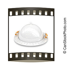 restaurant cloche with lid. The film strip