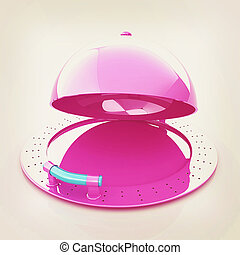 restaurant cloche with open lid . 3D illustration. Vintage style.
