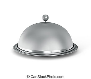 Restaurant cloche with open lid on a white background.