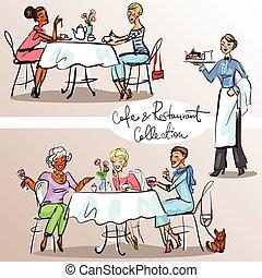 restaurant, coloré, gens,  2,  version, partie,  café