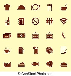 Restaurant color icons on yellow background