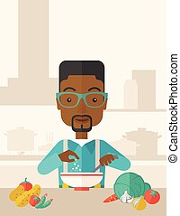 restaurant., comida, ensalada, joven, almuerzo, negro, tipo