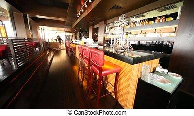 restaurant, compteur, stand, miroir, salon, barre, surface, long, kalian