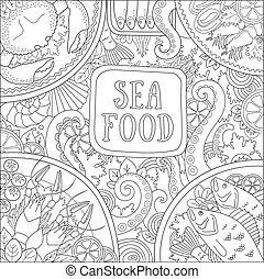 restaurant., concept, magasin, nourriture., conception, mer