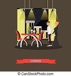 restaurant., concept, romantique, affiche, couple, dîner, vecteur