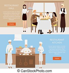 Restaurant concept vector web banner in flat style design. Family having dinner in cafe. Chef cooking in restaurant kitchen
