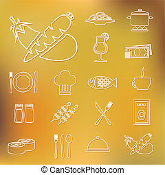 restaurant, contour, icônes
