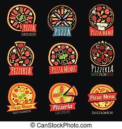 restaurant, couleur, étiquettes, isolated., emblèmes, vecteur, italien, insignes, pizza