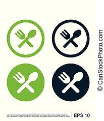 restaurant, cuillère, gabarit, icône, logo, icône