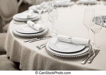 restaurant, décoré, expensively, gros plan, restaurant., table, réservé