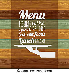 Restaurant design over wooden background, vector...