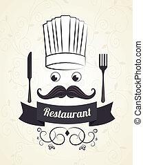 Restaurant design over beige background, vector illsutration