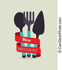 Restaurant design over beige background, vector illustration