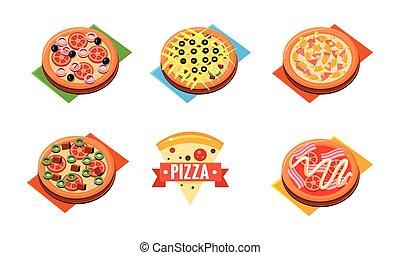 restaurant, différent, ingrédients, magasin, illustration, boulangerie, vecteur, conception, collection, pizzeria, pizza, café, entier, gabarit