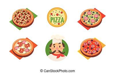 restaurant, différent, ingrédients, magasin, illustration, gai, boulangerie, vecteur, conception, chef cuistot, pizzeria, collection, pizza, café, entier, gabarit