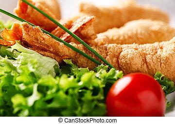 restaurant dish Shrimp in Tempura