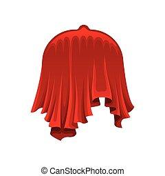 Restaurant dish under red silk cloth on white background.