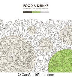 restaurant Doodle Website Template Design