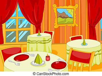 Restaurant Hall. Cartoon Background. Vector Illustration EPS...