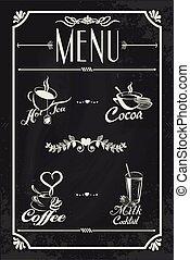 Restaurant drink menu design with chalkboard background....