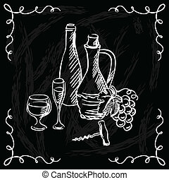 restaurant, eller, bar, vin, liste, på, chalkboard,...