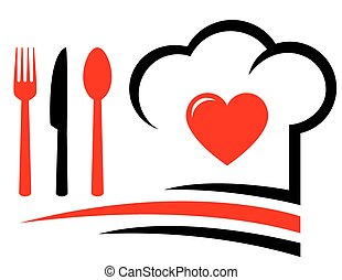 restaurant emblem with heart