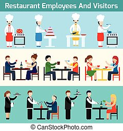 Restaurant employees and visitors - Restaurant waiters...